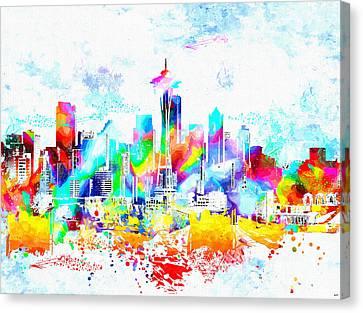 Seattle Skyline Canvas Print - Seattle Skyline Grunge by Daniel Janda