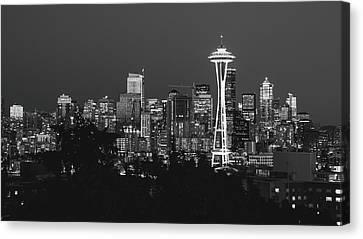 Seattle Skyline In B/w Canvas Print