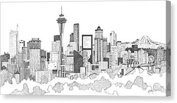 Seattle Skyline Ink Drawing Canvas Print by Marilyn Smith