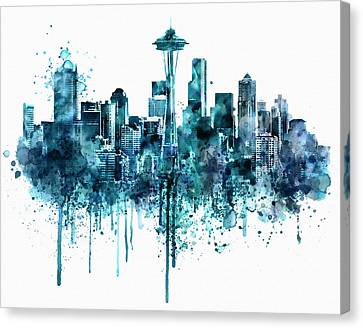Seattle Skyline Monochrome Watercolor Canvas Print by Marian Voicu