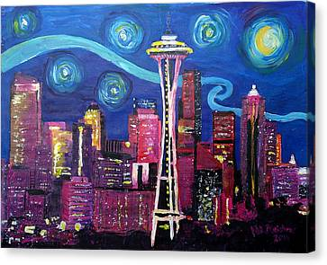 Starry Night In Seattle - Van Gogh Inspirations With Space Needle And Skyline Canvas Print