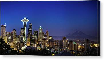 Horizontal Canvas Print - Seattle Skyline by Sebastian Schlueter (sibbiblue)