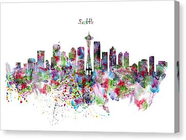 Seattle Skyline Silhouette Canvas Print by Marian Voicu