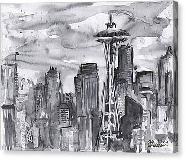 Seattle Skyline Space Needle Canvas Print by Olga Shvartsur