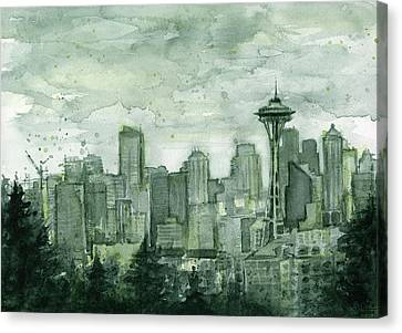 Needles Canvas Print - Seattle Skyline Watercolor Space Needle by Olga Shvartsur