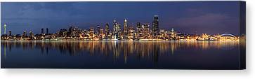 Vancouver At Night Canvas Print - Seattle Skyline Panorama by Wesley Allen Shaw