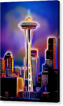 Water Canvas Print featuring the photograph Seattle Space Needle 1 by Aaron Berg