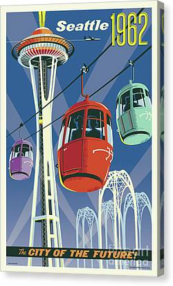 Sound Canvas Print - Seattle Space Needle 1962 by Jim Zahniser