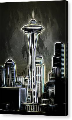 Water Canvas Print featuring the photograph Seattle Space Needle 2 by Aaron Berg