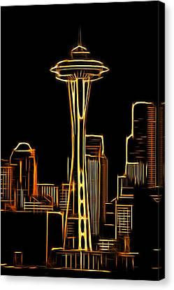 Water Canvas Print featuring the photograph Seattle Space Needle 3 by Aaron Berg