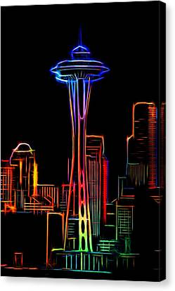 Water Canvas Print featuring the photograph Seattle Space Needle 4 by Aaron Berg
