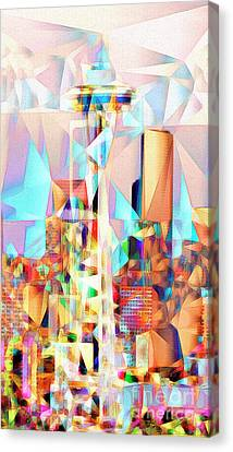 Canvas Print featuring the photograph Seattle Space Needle In Abstract Cubism 20170327 by Wingsdomain Art and Photography