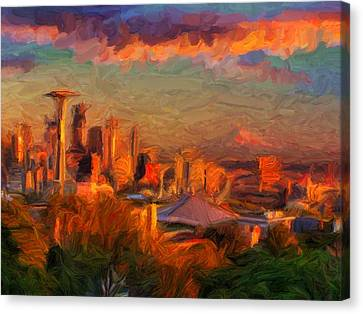Seattle Sunset 1 Canvas Print by Caito Junqueira