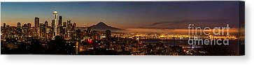 Seattle Warm Sunrise From Kerry Park Canvas Print