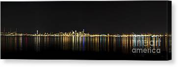 Seattle Washington Skyline From Alki Seacrest Park At 10mm Canvas Print