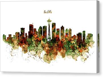 Canvas Print featuring the mixed media Seattle Watercolor Skyline Poster by Marian Voicu