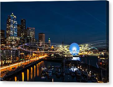 Seattle Waterfront Cosmic Rays Canvas Print