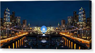 Seattle Waterfront Cosmic Rays Reflection Canvas Print