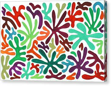 Seaweed Splash Colorful Abstract Gouache Painting Green Red Orange Brown Blue Canvas Print by Wendy Middlemass