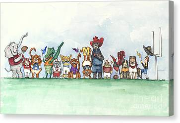 Razorbacks Canvas Print - Sec Football Mascots - Sports Watercolor Print by Annie Laurie