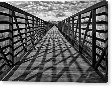 Canvas Print featuring the photograph Secaucus Nj Greenway Trail Bw by Susan Candelario
