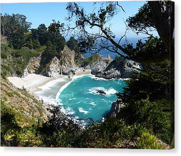 State Beach Near Big Sur Canvas Print - Secluded Mcway Cove In California's Julia Pfeiffer Burns State Park by Carla Parris
