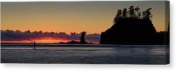 Canvas Print featuring the photograph Second Beach Silhouettes by Dan Mihai