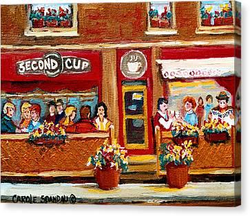 Second Cup Coffee Shop Canvas Print by Carole Spandau