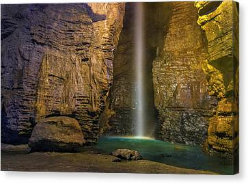 Secret Caverns Waterfall 2 Canvas Print by Mark Papke