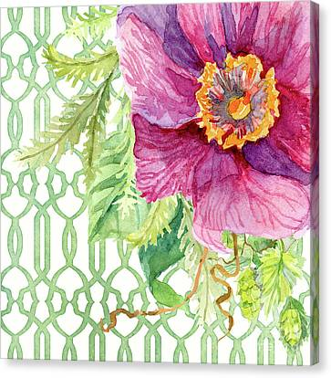 Secret Garden 1 - Single Peony Fern Hops And Trellis Canvas Print by Audrey Jeanne Roberts