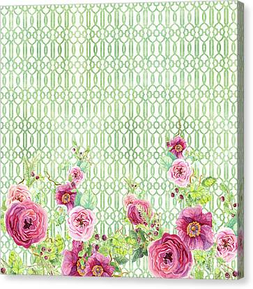 Secret Garden 2 - Peony N Rose Fern Hops, Berries And Trellis Canvas Print by Audrey Jeanne Roberts
