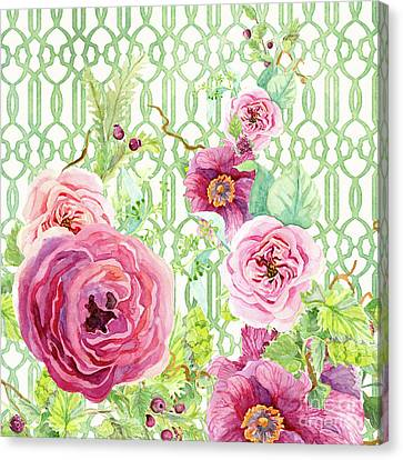 Secret Garden 2 - Single Peony Fern Hops And Trellis Canvas Print by Audrey Jeanne Roberts