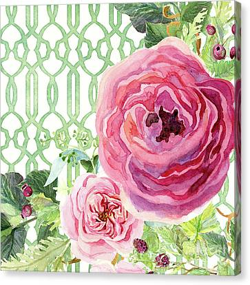 Secret Garden 3 - Pink English Roses With Woodsy Fern, Wild Berries, Hops And Trellis Canvas Print by Audrey Jeanne Roberts