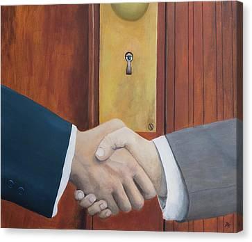 Secret Handshake Canvas Print by Patrick Kelly