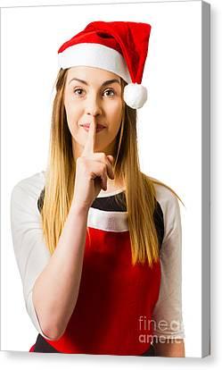 Secret Santa Surprise On White Background Canvas Print by Jorgo Photography - Wall Art Gallery