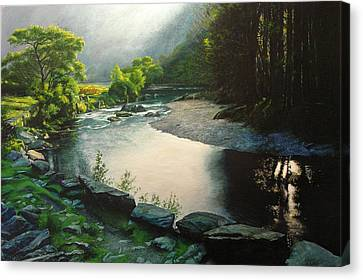 Canvas Print featuring the painting Secret Valley by Harry Robertson