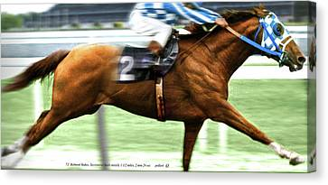 Secretariat Is Widening The Lead Now,  Painting Belmont Stakes  Canvas Print by Thomas Pollart