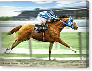 Secretariat On The Back Stretch At The Belmont Stakes Canvas Print