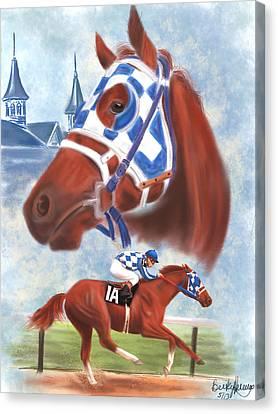 Racing Canvas Print - Secretariat Racehorse Portrait by Becky Herrera