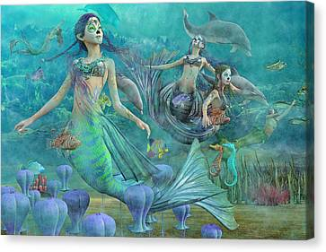 Angel Mermaids Ocean Canvas Print - Secrets We'll Never Tell by Betsy Knapp