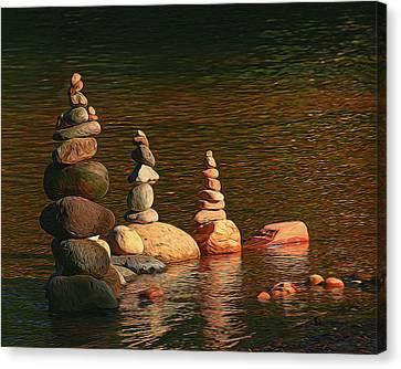 Sedona # 37 - Oak Creek Cairns Canvas Print by Allen Beatty