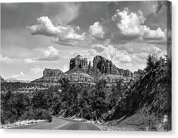 Sedona Arizona Black And White Landscape - Cathedral Rock  Canvas Print by Gregory Ballos
