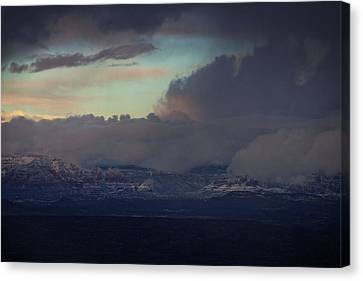 Canvas Print featuring the photograph Sedona At Sunset With Red Rock Snow by Ron Chilston
