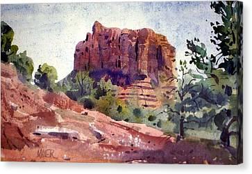 Southwestern Landscape Canvas Print - Sedona Butte by Donald Maier