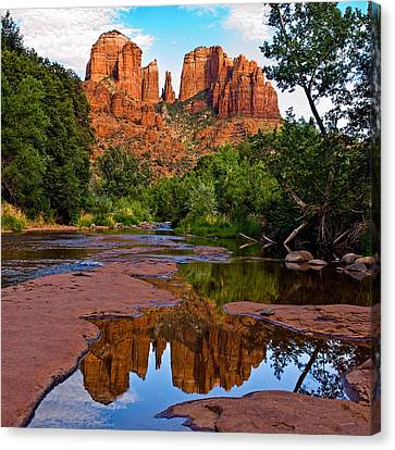 Sedona Cathedral Rock Reflections Canvas Print by Dave Dilli