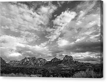 Canvas Print featuring the photograph Sedona Red Rock Country Bnw Arizona Landscape 0986 by David Haskett
