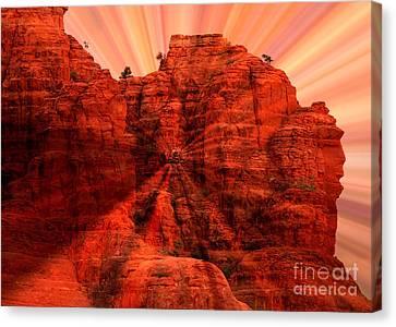Sedona Sunset Energy - Abstract Art Canvas Print by Carol Groenen