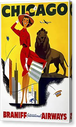Jet Set Canvas Print - See Chicago - Braniff International Airways C. 1955 by Daniel Hagerman