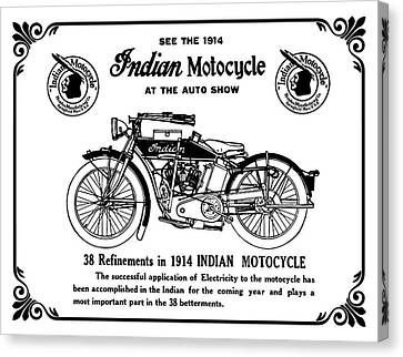 Canvas Print featuring the mixed media See New 1914 Indian Motocycle At The Auto Show by Daniel Hagerman