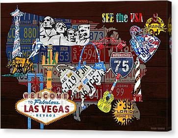 See The Usa Vintage Travel Map Recycled License Plate Art Of American Landmarks Canvas Print by Design Turnpike